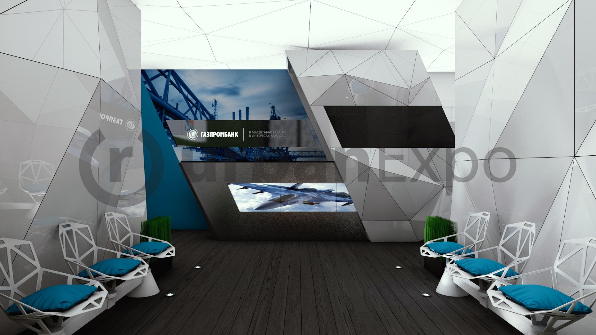 МАКС 2015. Оформление и отделка выставочного шале для АО Газпромбанк